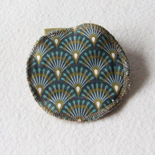 Disque à démaquiller grand rond, lingette zéro déchet tissu imprimé d'éventails bleus et or & éponge beige