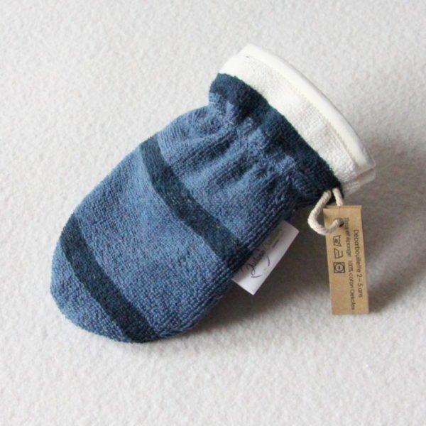 Débarbouillette ou gant de toilette enfant élastiqué 2 à 5 ans de couleur bleu et blanc rayé avec un biais blanc