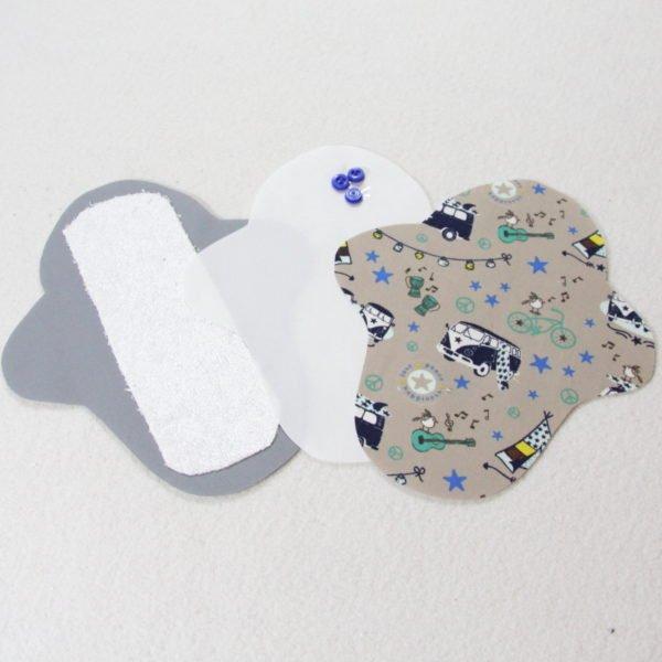 Kit prêt à coudre pour protection féminine, serviette hygiénique flux normal coloris beige avec combis bleus