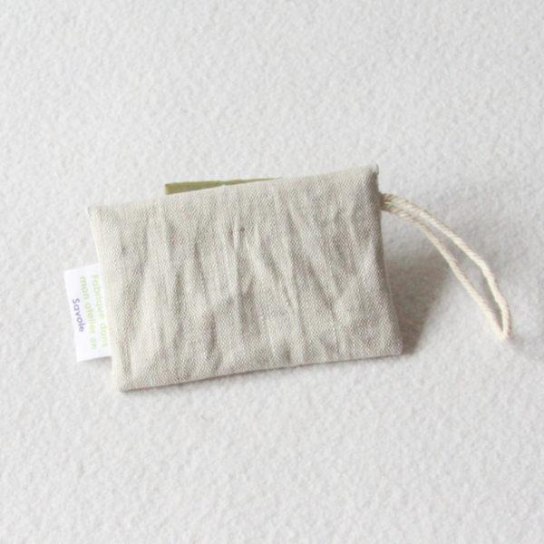 Pochette à savon ou shampoing solide en lin enduit beige zéro dechet