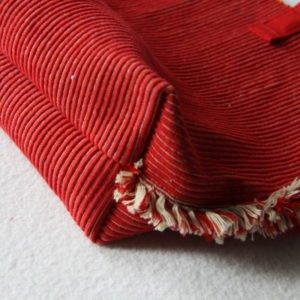 Sac cabas coton rouge et beige à pompon