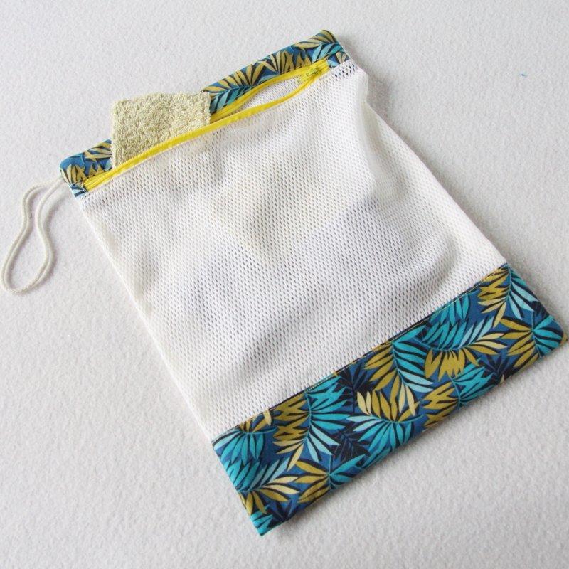 Filet de lavage pour lingettes zéro déchet avec zip de fermeture