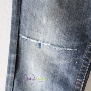 Retouche / réparation genou de jeans