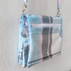 Sac à pochettes Julyne – bleu à carreaux
