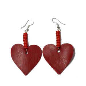 Boucles d'oreilles cœur rouge upcycling