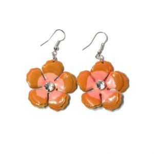 Boucles d'oreilles fleurs 70's orange