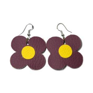 Boucles d'oreilles fleur violet et jaune
