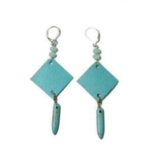 Boucles d'oreilles losange bleu & jaspe